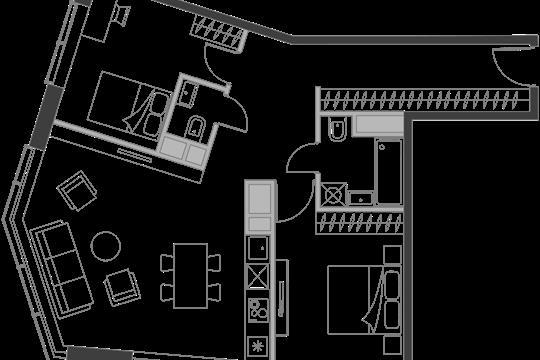 2-комн квартира, 72.3 м2, 8 этаж