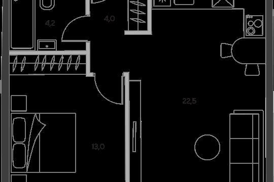 1-комн квартира, 43.7 м2, 15 этаж