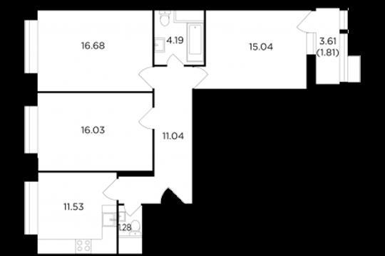 3-комнатная квартира, 77.5 м2, 4 этаж