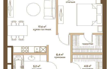 1-комнатная квартира, 53 м2, 22 этаж