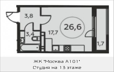 1-комнатная квартира, 26.6 м<sup>2</sup>, 13 этаж_1