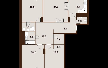 4-комнатная квартира, 130.2 м<sup>2</sup>, 9 этаж