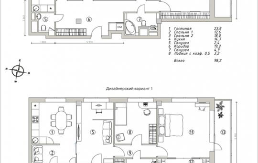 3-комн квартира, 98.2 м2, 12 этаж