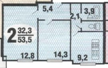 2-комн квартира, 54.2 м2, 3 этаж