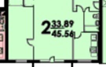 2-комн квартира, 45.4 м2, 1 этаж