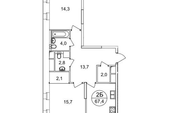2-комнатная квартира, 67.4 м<sup>2</sup>, 23 этаж