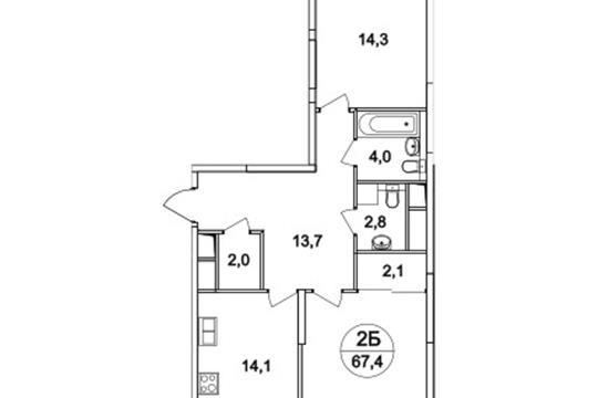 2-комнатная квартира, 67.4 м2, 2 этаж