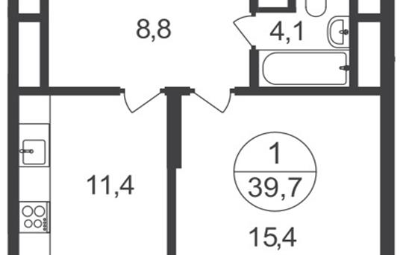 1-комнатная квартира, 39.7 м<sup>2</sup>, 25 этаж_1