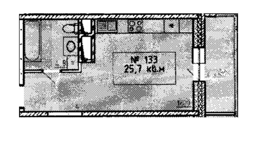 1-комн квартира, 25.7 м2, 9 этаж