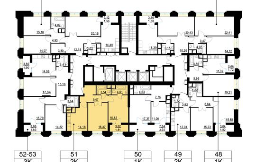 2-комн квартира, 63.7 м2, 8 этаж