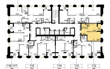 1-комн квартира, 42.1 м2, 16 этаж