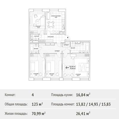 4-комн квартира, 123 м2, 7 этаж - фото 1
