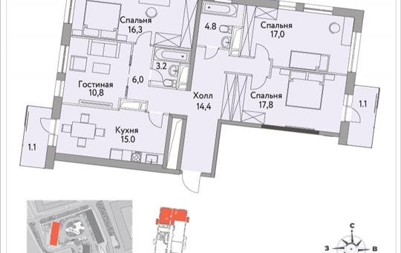 4-комнатная квартира, 108.3 м<sup>2</sup>, 19 этаж_1