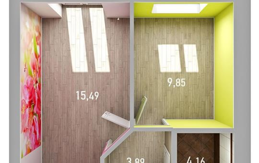 1-комнатная квартира, 34.42 м<sup>2</sup>, 6 этаж