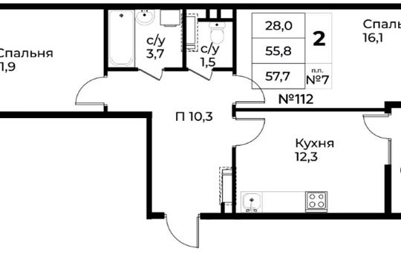2-комн квартира, 57.7 м<sup>2</sup>, 7 этаж_1