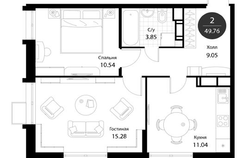 2-комнатная квартира, 49.76 м<sup>2</sup>, 4 этаж