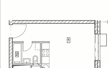 1-комнатная квартира, 25.7 м<sup>2</sup>, 5 этаж