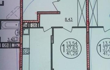 1-комнатная квартира, 41.3 м<sup>2</sup>, 2 этаж