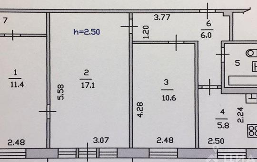 3-комнатная квартира, 50.9 м<sup>2</sup>, 2 этаж