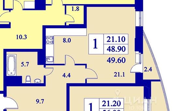 1-комнатная квартира, 49.4 м<sup>2</sup>, 18 этаж