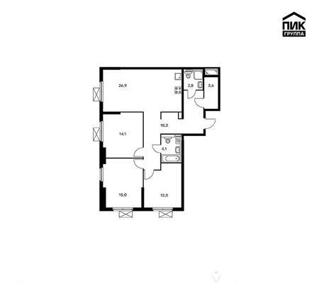3-комн квартира, 97.7 м<sup>2</sup>, 26 этаж_1