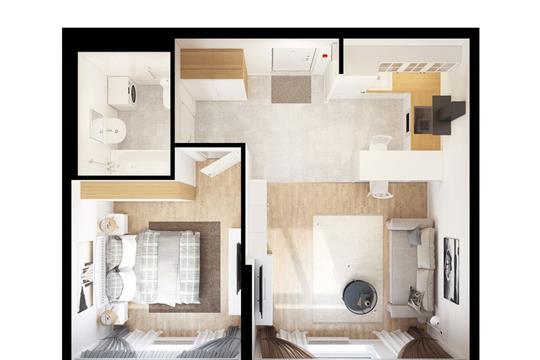 1-комнатная квартира, 44.47 м<sup>2</sup>, 2 этаж_1