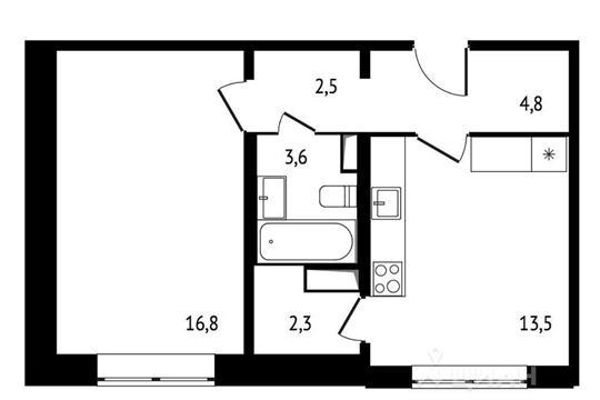 1-комн квартира, 43.5 м<sup>2</sup>, 4 этаж_1