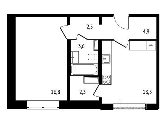 1-комн квартира, 43.5 м2, 4 этаж - фото 1