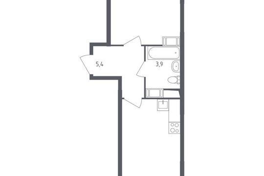 1-комн квартира, 38.7 м<sup>2</sup>, 16 этаж_1