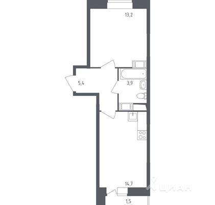 1-комнатная квартира, 38.7 м<sup>2</sup>, 16 этаж_1