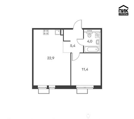1-комнатная квартира, 43.5 м<sup>2</sup>, 2 этаж_1