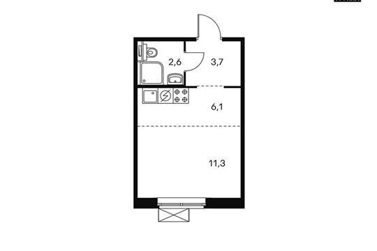 Студия, 23.4 м<sup>2</sup>, 12 этаж_1