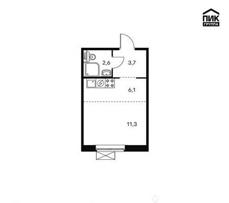 Студия, 23.4 м2, 12 этаж - фото 1