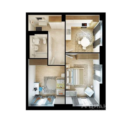 2-комнатная квартира, 58.3 м<sup>2</sup>, 27 этаж_1