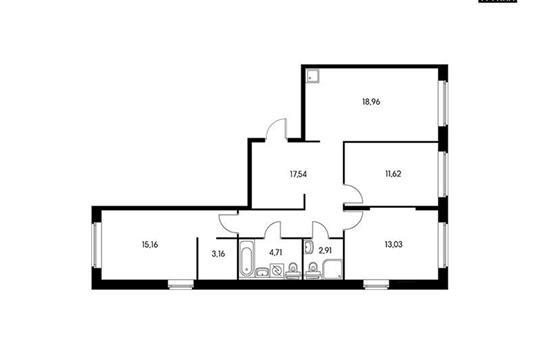 3-комнатная квартира, 87.09 м<sup>2</sup>, 8 этаж