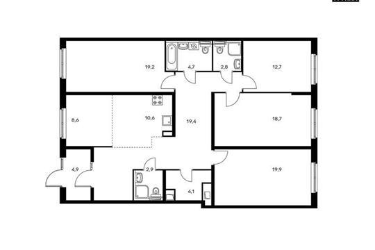 5-комнатная квартира, 136.1 м<sup>2</sup>, 1 этаж