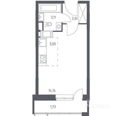Студия, 24.59 м2, 10 этаж - фото 1