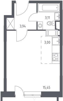 Студия, 27.34 м2, 6 этаж - фото 1