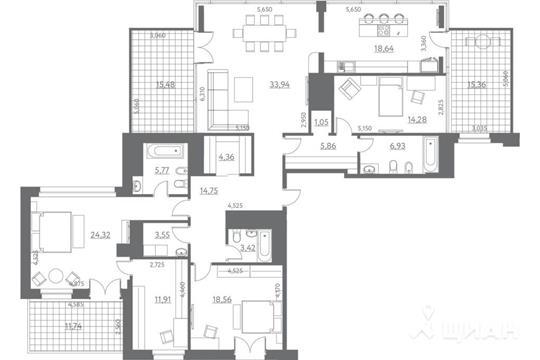 1-комнатная квартира, 212.44 м<sup>2</sup>, 12 этаж