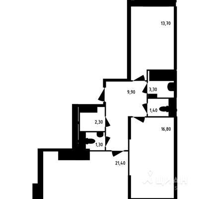 2-комнатная квартира, 70.1 м<sup>2</sup>, 10 этаж_1