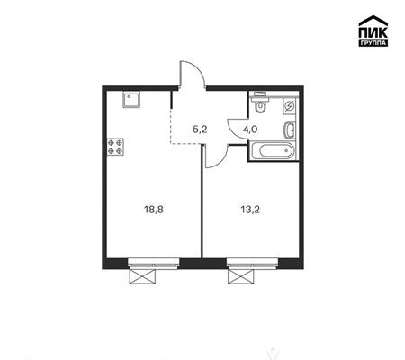 1-комнатная квартира, 41.2 м<sup>2</sup>, 17 этаж_1