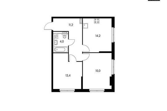 2-комн квартира, 57.8 м<sup>2</sup>, 20 этаж_1