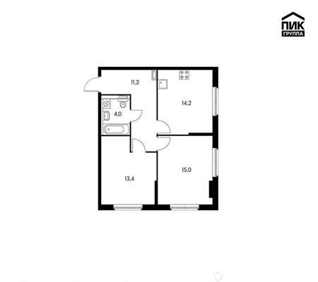 2-комн квартира, 57.8 м2, 20 этаж - фото 1