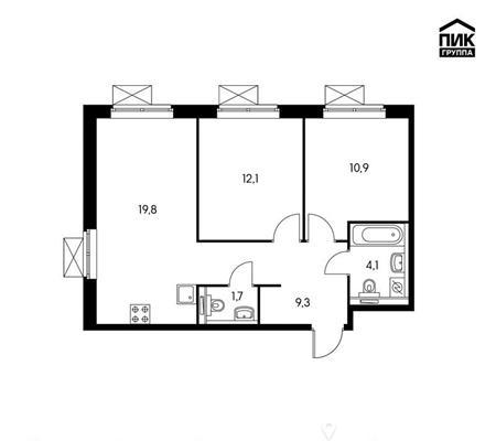 2-комн квартира, 57.9 м2, 3 этаж - фото 1