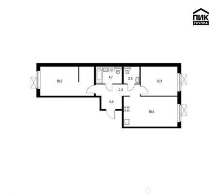 2-комнатная квартира, 65.5 м<sup>2</sup>, 2 этаж_1