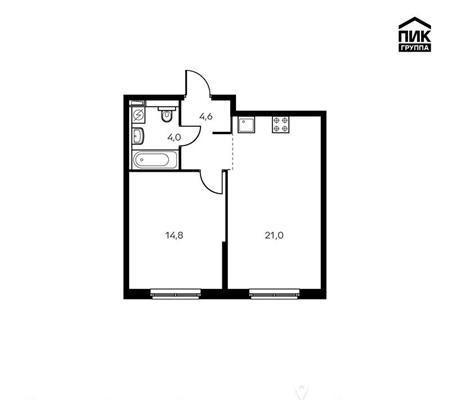 1-комн квартира, 44.4 м2, 6 этаж - фото 1