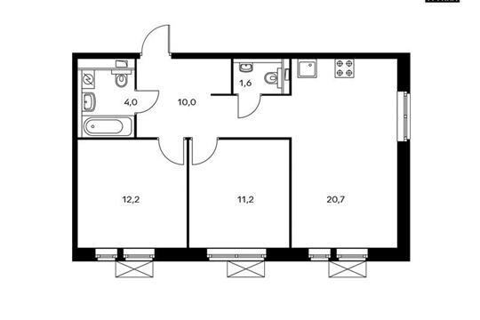 2-комн квартира, 59.7 м<sup>2</sup>, 7 этаж_1