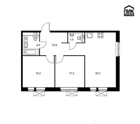 2-комн квартира, 59.7 м2, 7 этаж - фото 1