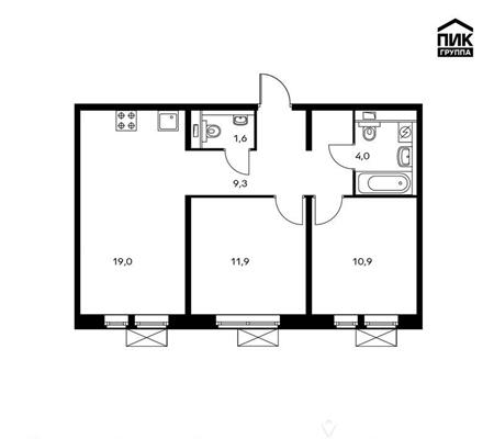 2-комнатная квартира, 56.7 м<sup>2</sup>, 21 этаж_1