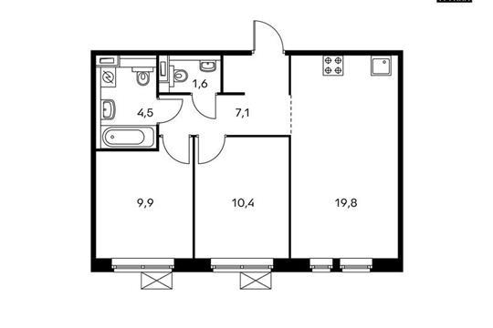 2-комн квартира, 53.3 м<sup>2</sup>, 2 этаж_1